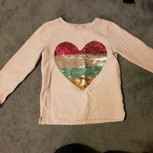 Girls Sz 8 Sequin Heart Sweatshirt